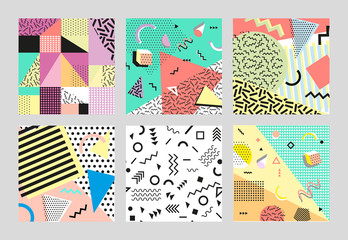 Retro vintage 80s or 90s fashion style. Memphis cards. Trendy geometric elements. Modern abstract design poster, cover, card design. Vector illustration. Big set.