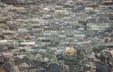 a wall of a wild multi-colored natural stone