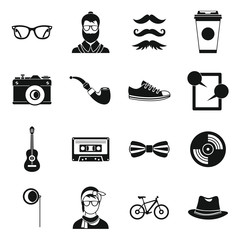 Hipster icons set in simple style. Hipster elements set collection vector illustration