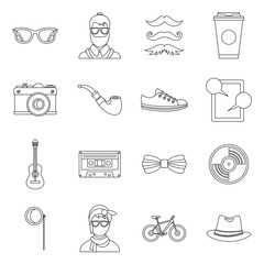 Hipster icons set in outline style. Hipster elements set collection vector illustration