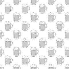 Glass of beer seamless pattern on white background. Alcoholic beverage design vector illustration