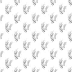 Spike of wheat seamless pattern on white background. Plant design vector illustration