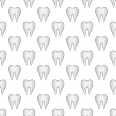 Tooth seamless pattern on white background. Dentistry design vector illustration