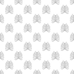 Ribs seamless pattern on white background. Human bones design vector illustration
