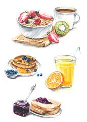 Collection of different breakfast - juice, jam, pancakes, coffee, bread, muesli