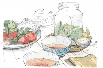 Dinner on the table: plates with vegetables, soup, pickles
