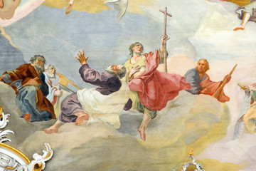 Fresco in Pilgrimage Church Wieskirche, a rococo church,designed in 1740s by Dominikus Zimmermann. A UNESCO World Heritage List in 1983.