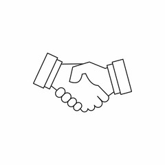 Handshake icon in outline style on a white background vector illustration