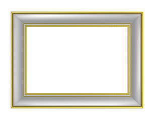 Silver picture frame isolated on white background. 3D illustration.