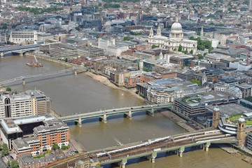 London rooftop view panorama with urban architectures. View from the Shard Building in London.