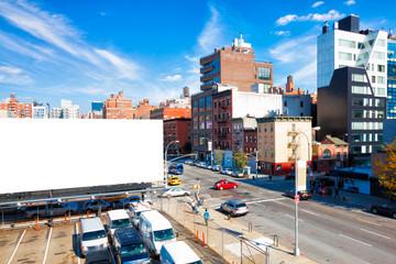 Big blank billboard in New York City. Copy space