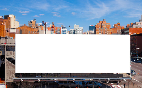 Big blank billboard in New York City. Copy space