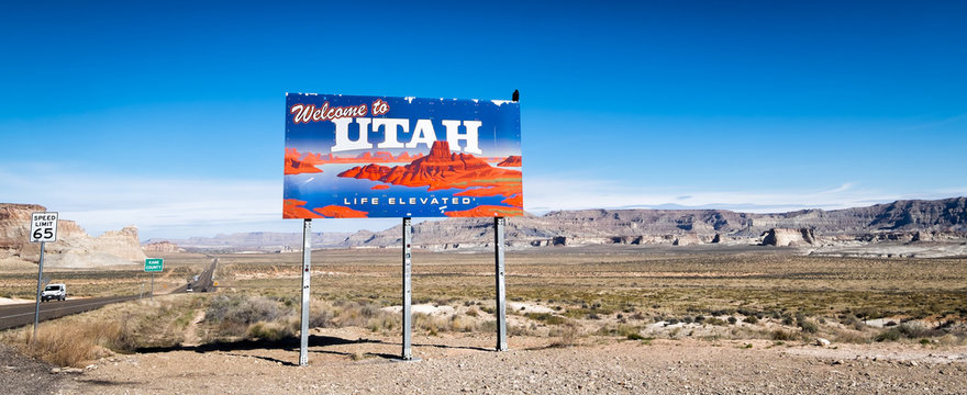 Welcome to Utah billboard on Highway 89 through the desert