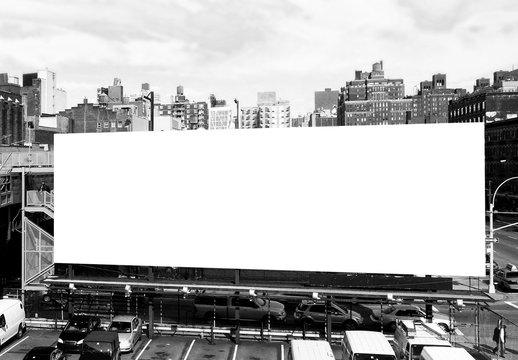 Big blank billboard in New York City. Black and white. Copy space