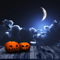 3D Halloween background with pumpkins and night sky