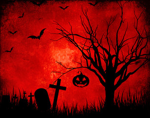 Fototapete - Grunge Halloween landscape background