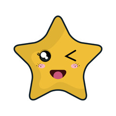 kawaii yellow cartoon cute star shape with happy expression face. vector illustration
