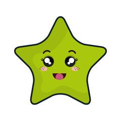 kawaii green cartoon cute star shape with expression face. vector illustration