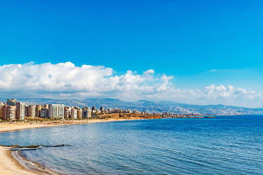 Lebanon Coast Landscape in Raouche, Beirut, Lebanon.