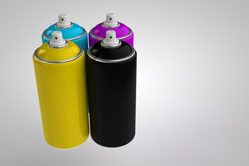 Spray can on light background. CMYK cyan magenta yellow black. 3D render cans.