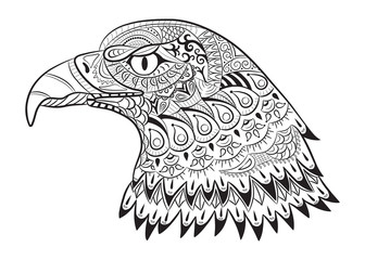 Hand drawn eagle. Zentangle for coloring page for adults, t-shirt design.