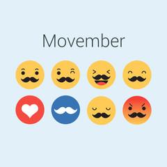 Set of emoticons, emoji for movember. Editable vector design