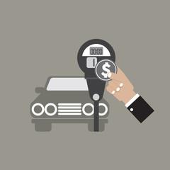 Hand Insert Coin Into Parking Meter Vector Illustration