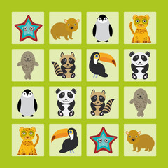 Starfish hamster Penguin leopard seal raccoon panda toucan Finding the Same Picture Educational game for Preschool Children. Vector
