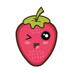 strawberry  fruit food. kawaii cartoon with happy expression face.