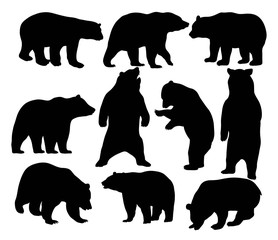 Bear Set Silhouettes, art vector design