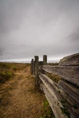 Wood fence near hiking trail