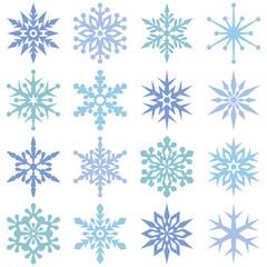 Set of 16 simple snowflakes