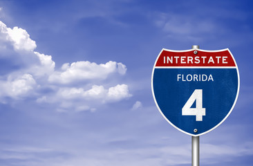 Florida interstate road sign as 3d illustration