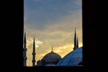 Looking through window to Blue Mosque, Istanbul