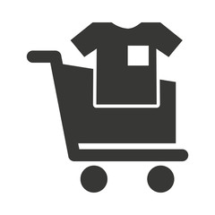 cart shopping with commercial icon isolated vector illustration design