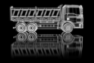 Dump truck as wireframe