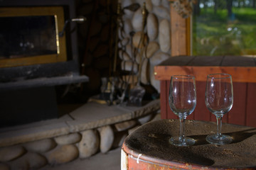 Wine Glasses next to fireplace