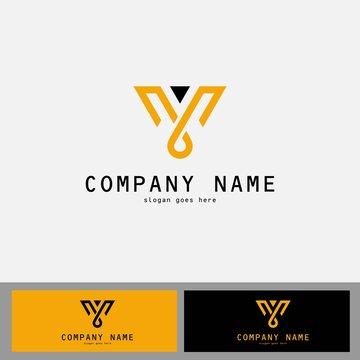 gold letter V abstract logo