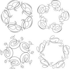 Set of 4 round vintage floral frames or swirls for your design.