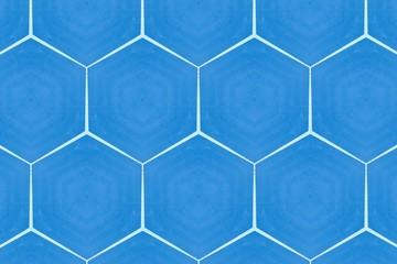 Blue background with geometric elements.