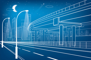 Automotive flyover, architectural and infrastructure composition, transport overpass, highway, white lines urban scene, night city on background, vector design art