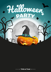 Vector Halloween Party illustration. Poster with moon, pumpkins and bats on greenish-blue background.