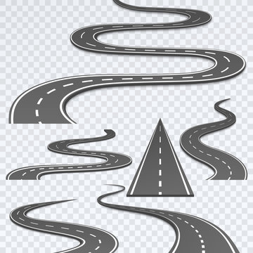 Road with white stripes on a plaid background. Set curved routes.