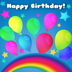 Happy Birthday congratulation card . The background is decorated with a rainbow, balloons, stars.