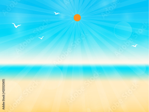 Sunshine On Empty Tropical Beach With Blue Sea Vector Flat Design For Business Marketing Advertisement