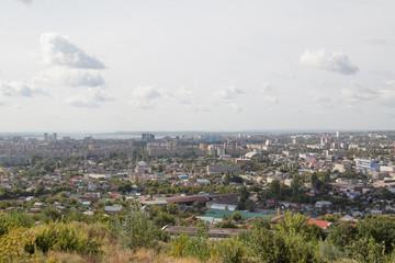 Вид города Саратова со смотровой площадки аэропорта, Россия