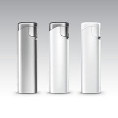 Vector Set of Blank White Plastic Metal Lighters on Background