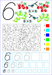 Educational page for children with number 6. Developing skills for counting and writing. Vector image.