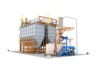 tanks for the storage of grain granary. Silos construction. Isolate on white