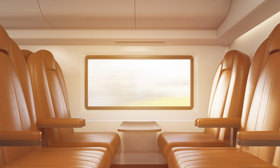 Four brown armchairs in sunlit train compartment